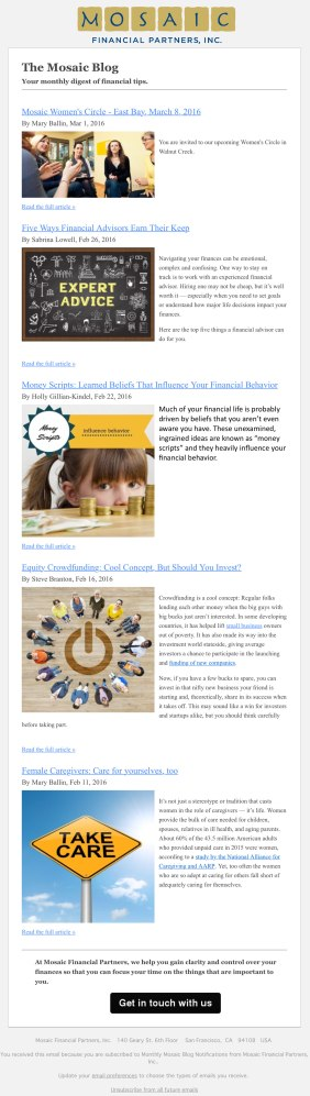 Mosaic e-Newsletter