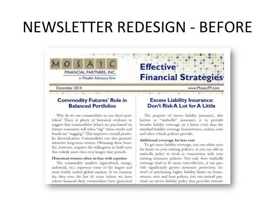 Newsletter redesign - before