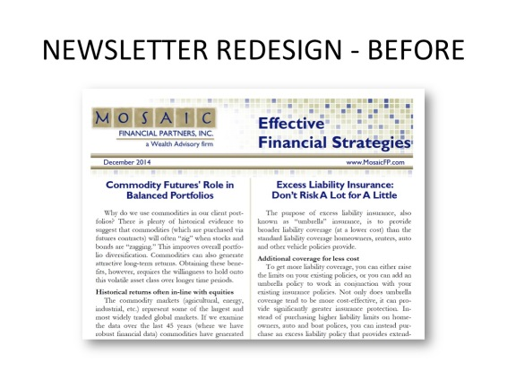 Newsletter redesign - before